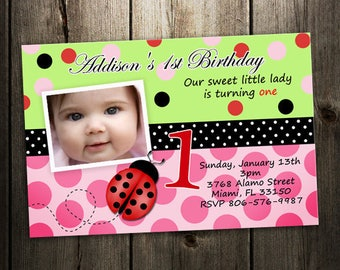 ladybug birthday invitation