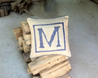 Hand stenciled burlap initial pillow