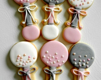 Baby Rattle Hand Decorated Sugar Cookies (#2366)