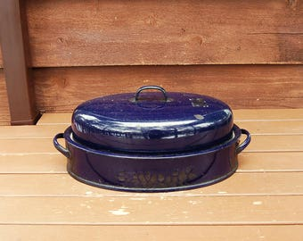 Savory Roaster Pot, Vintage Enamelware Roasting Pan, Navy Blue Speckled Savory Roaster, Turkey Roaster