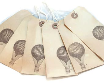 Hot Air Balloon Gift Tags, Tea Stained Gift Tags, Vintage Style Tags, Steampunk Hang Tags, Merchandise Tags, Journaling Tags, Party Decor