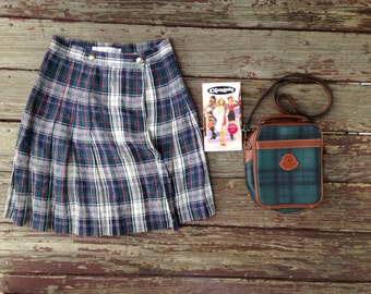 Vintage Grab Bag! AS IF Starter Pack - Clueless, 90's Limited Tartan Plaid Mini Skirt, Preppy Purse