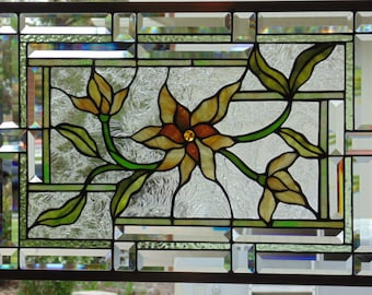 Stained Glass Window Hanging 25 1/2 X 18