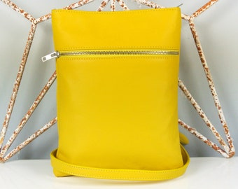 Yellow Leather 'Marldon Zipper' Messenger Bag - Cross-body Bag - Shoulder Bag - Personalized Bag - Made in the UK - Italian Leather