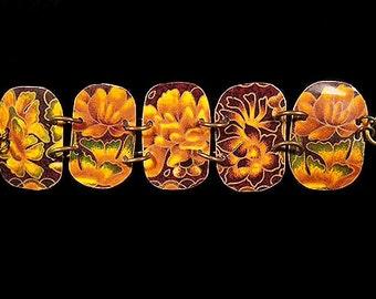 Vintage Tin Golden Lotus Wide Bracelet