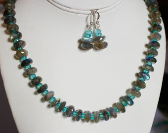 Beautiful Handmade Labradorite and Neon Apatite With Sterling Silver Necklace with Matching Earrings.