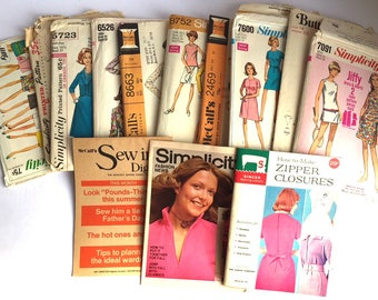 Lot of 11 Vintage Sewing Patterns from the 60's & 70's