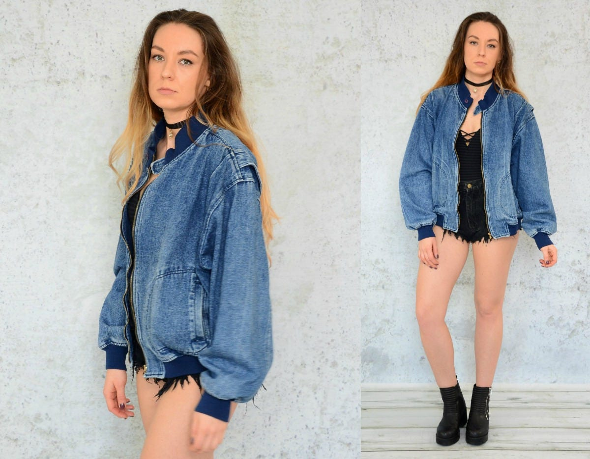 Acid Wash Vintage Jacket Bomber Denim Coat Hipster Jaket Unisex Nevy Zoom