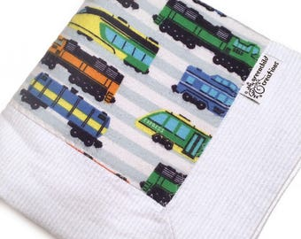 Trains Baby Blanket, Flannel Blanket, security blanket, lovey blanket, nursing blanket, baby gift