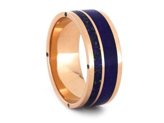 Lapis Lazuli Wedding Band 14k Rose Gold Ring For Men Blue