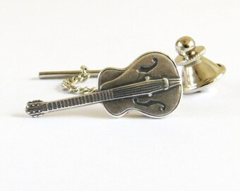 Guitar Tie Tack Sterling Silver Ox Finish Fathers Day Gift