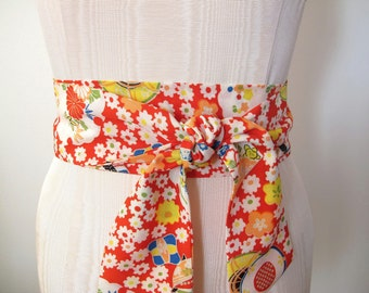 Japanese Kimono Obi Belt Silk Blend Sash in Red Multi Color Floral Print - made to order