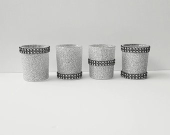 Silver Decor, Votives, Candle Holders, Silver and Black, Gothic Decor, Bridal Shower, Wedding Table Decor, New Years Party, Holiday Party