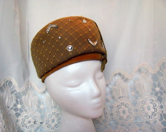 Ladies Pillbox Hat by Henry Pollak /  Mustard Yellow Hat with Appliqued Sequins and Rhinestones