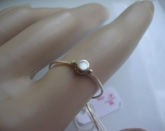 Ring Tiny Midi - Clean White Mother of Pearl fancy bezel set in  eco-friendly solid sterling silver -Prosperity- Ready to mail in size 6.75