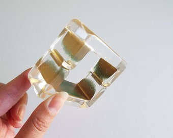 Vintage 1970's 1980's Lucite Bangle With Magnetic Catch Clamper Bangle Square Bangle Retro New Wave