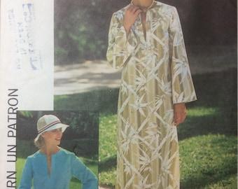 Vintage Sewing Pattern Dashiki Caftan Misses Loungewear Pullover Top SIze 12 1976