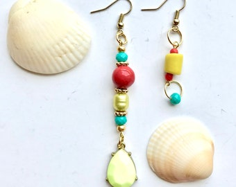 Handmade earrings mismatched dangle earrings mismatch earrings gift  gifts for her statement earrings beaded earrings fashion earrings