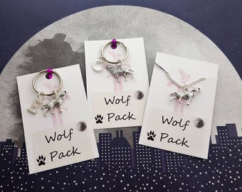 Wolf Pack Gifts, Friendship Gifts, Stag Do Favors, Matching Gifts, Colleague Gifts, Wolf Keyrings, Wolf Necklaces, Hunter Gift, Gift For Him