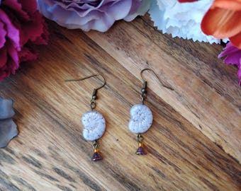 Ammonite Fossil Floral Boho Earrings. Orange & Purple. Bohemian Earrings. Flower Jewelry. Hippie Gypsy Boho Jewelry. Flower Jewelry.