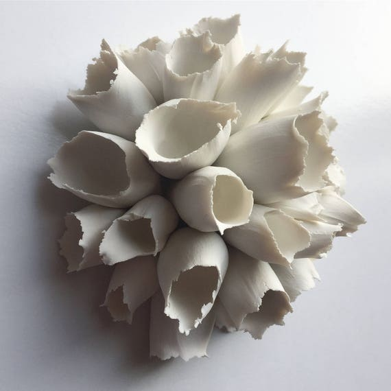 Foxglove Round Clay Wall Tile Sculpture