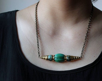 Turquoise necklace chunky bar necklace gold Turquoise pendant african Turquoise statement necklace tibetan mens necklace boho tribal jewelry