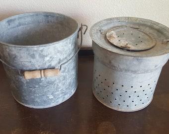 Vintage galvanized metal Faris minnow bucket