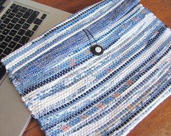 Computer Case, Personal Computer Laptop Bag, Blue Laptop Case, Executive Laptop Sleeve, Boho Chic Bag School Clutch, College Urban Tote Bag