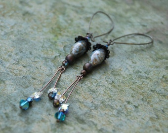 Antiqued Brass Earrings with Crystals