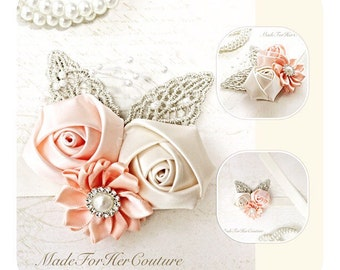Corsages, Wrist Flower, Wrist Corsage, Wedding Corsage, Peach Corsage, Ivory Corsage, Wedding Wrist Band, Wedding Decor