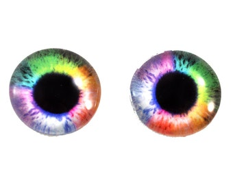 16mm Rainbow Glass Eye Cabochons Colorful Pair - Handmade Supply Eyes for Doll or Jewelry Making - Set of 2