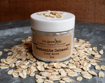 Bentonite Oatmeal Clay Mask, Bentonite Clay Face Mask, Oatmeal Mask, Acne and Eczema Face Mask, Detox Clay  Mask