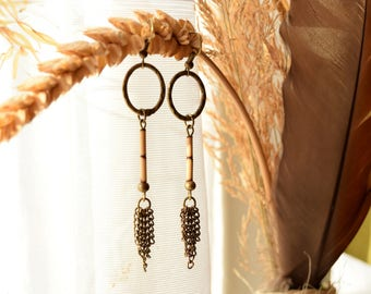 Handmade Bohemian,Hippie Long Earrings with Bamboo and Old Antique Bronze Rings