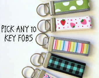Womens Gift for Her - 10 Mini KEY FOB - Christmas Stocking Stuffer Gift Idea - Womens Key Chain - Womens Key Ring- Best Friend Gift Under 10