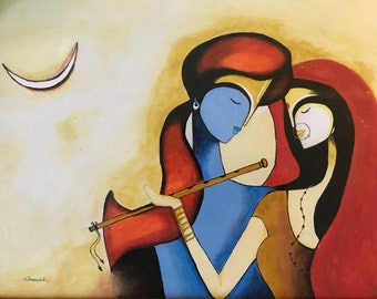 Radhakrishna oil painting on canvas sheet