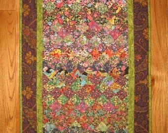 Art Quilt, Purple Green Paisley Flower Fabric Wall Hanging, Quilted, Kashmir Rug Wall Art, Table Runner, Textile Home Office Decor Handmade