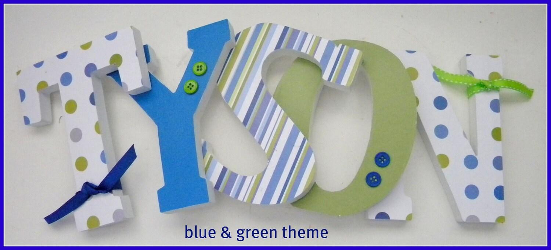 Holz Buchstaben Wand Buchstaben blau und grün Thema