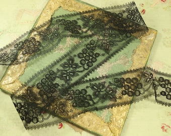 "1 yard Antique  black silk tulle lace 2.25"" wide dainty pattern grapes grapevine victorian black gothic"