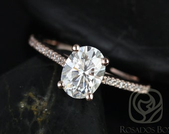 Rosados Box Blake 8x6mm 14kt Rose Gold Oval F1- Moissanite and Diamonds Cathedral Engagement Ring