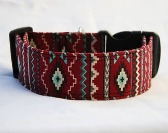 Southwest Aztec Navajo Adjustable Dog- Pet Collar- Pet Accessories- Supplies Dog Collar- Large Breed Dog- Wide 1.5 inch 2 inch