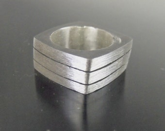 Three Section Band 9mm Sterling Silver RF607