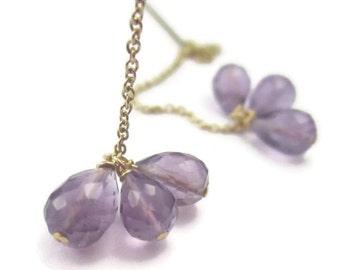 Amethyst Threader Earrings Purple Gemstone Cluster on Long 14K Gold Filled Chain February Birthstone