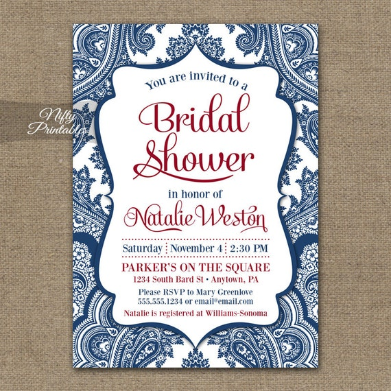 Navy Blue And Ivory Wedding Invitations: Navy Blue Bridal Shower Invitations Printable Red White Blue