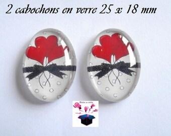 2 cabochons glass 25mm x 18mm puffed heart theme