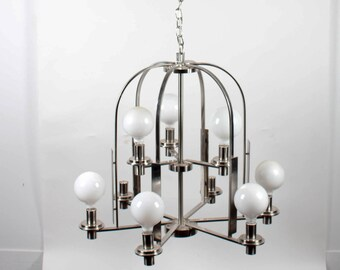 Brushed Metal 9-Lamp Modern Chandelier