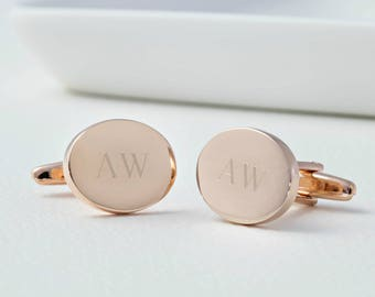 Personalized Rose Gold Oval Monogram Cufflinks - Wedding Cufflinks, Custom Wedding Intials Cufflinks, Monogrammed Cufflinks, Groomsman Gift