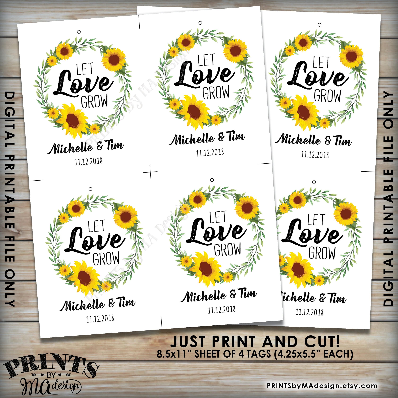 Let Love Grow Tags, Sunflower Wedding Greenery Tags, Flower Seeds ...
