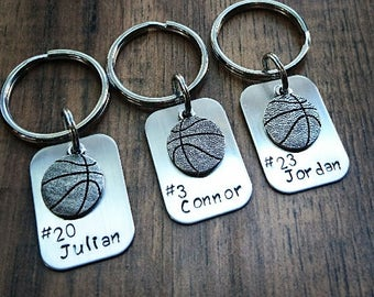 Hand Stamped Personalized Basketball Keychain - Basketball Team Gift - Boys Basketball Gifts - Basketball Senior Night