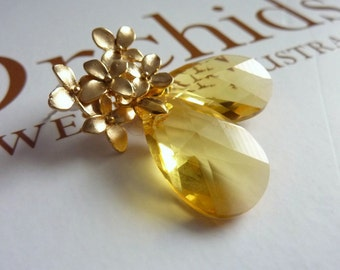 SUN GARDEN- Big Swarovski Citrine Crystal Golden Blossom Post Earrings