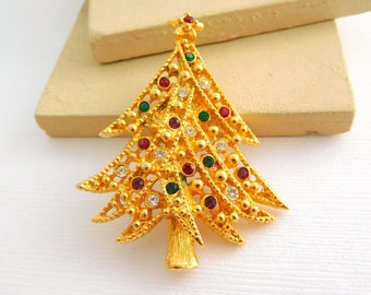 Retro Vintage Gold Multi-Color Rhinestone Christmas Tree Holiday Brooch Pin GG36
